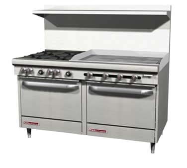 "Southbend S60CC-3GR - Restaurant Range, gas, 60"", (4) burners, (1) 36"" griddle right"