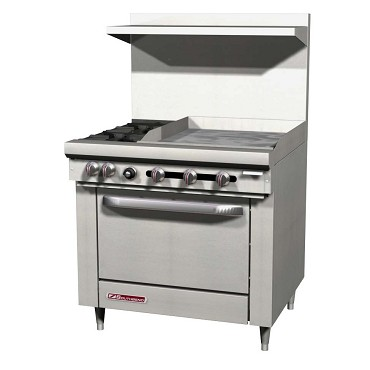 "Southbend S36D-2GL - Restaurant Range, gas, 36""W, 2 burners, 24 in griddle, std oven"