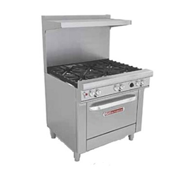 "Southbend 4367A - Restaurant Range, gas, 36"", (4) burners, (1) convection oven"