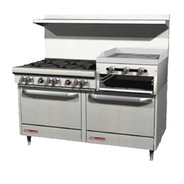 "Southbend 4601AA-2RR - Restaurant Range, gas, 60"", (6) burners, (1) raised griddle/broiler right"