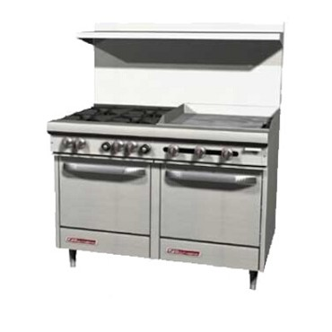 "Southbend S48DC-3TR - Restaurant Range, gas, 48"", (2) burners, (1) 36"" griddle right"