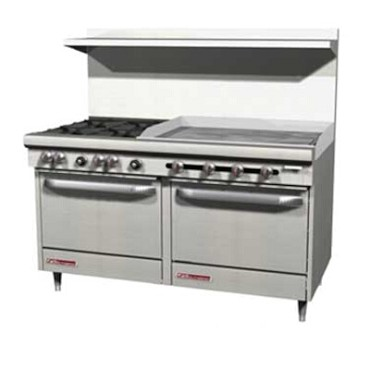 "Southbend S60AC-4GR - Restaurant Range, gas, 60"", (2) burners, (1) 48"" griddle right"