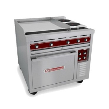 "Southbend SE36A-HHH - Heavy Duty Range, electric, 36"", (3) 12"" hot tops, (1) convection oven"
