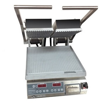 "Star PGT14D - Sandwich Grill, 14.5""W x 14""D grooved aluminum, dual platens, electronic ctrls & timer"