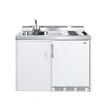 "Summit C48EL - All-in-One Combo Kitchen, 48"" L, one piece stainless steel top with deep drawn sink"