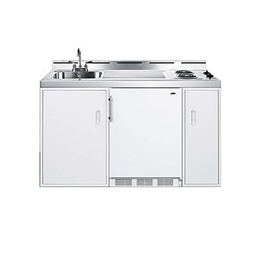 "Summit C60EL - All-in-One Combo Kitchen, 61"" L, one piece stainless steel top with deep drawn sink"