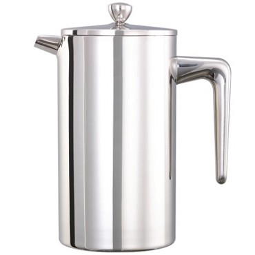 "Service Ideas PDWSA1000PS - French Press, 1 liter, 4-1/4"" x 7"" x 8-1/2"", polished finish"