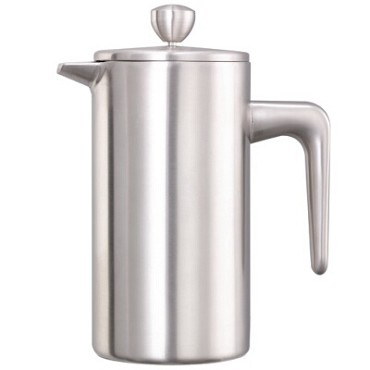 "Service Ideas PDWSA350BS - French Press, 0.35 liter, 3"" x 5-1/4"" x 6-1/2"", brushed finish"