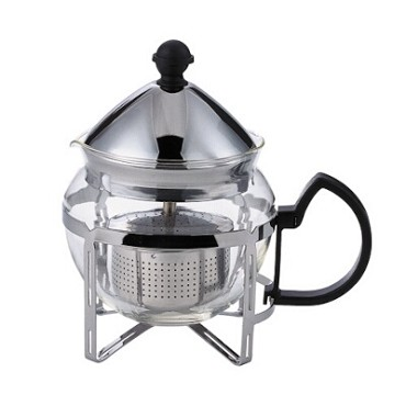 "Service Ideas T600CC - Tea Press, 0.6 liter, 4-3/4"" x 6-1/2"" x 6-1/2"", chrome accents"
