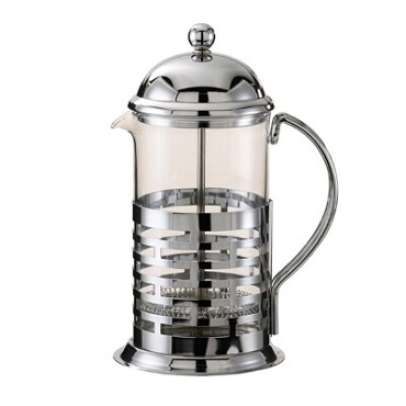 "Service Ideas T677B - French Coffee Press, 0.8 liter, 4-3/4"" x 6"" x 9"", chrome finish"