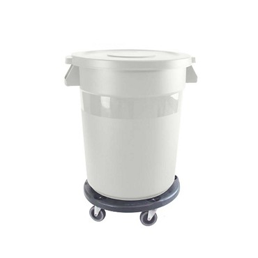 Thunder PLTC020W - Trash Can, 20 gallon, round, integrated handles, plastic, white
