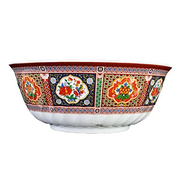 "Thunder 5308TP - Swirl Bowl, 48 oz., 8"" dia., melamine, Peacock, (Case of 12)"