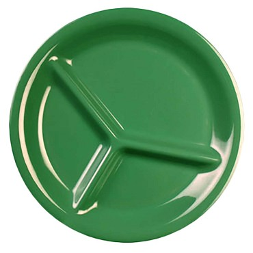 "Thunder CR710GR - Compartment Plate, 10.25"" dia., 3-wells, green, (Case of 12)"