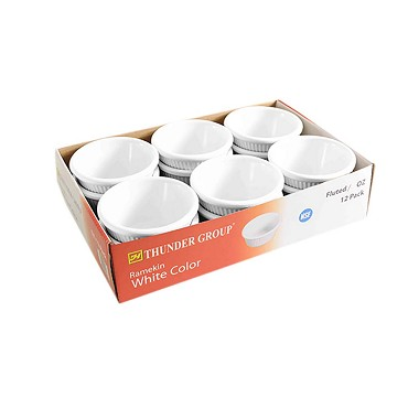 "Thunder ML509W1R - Ramekin, 2 oz., 2-7/8"" dia., fluted, white, (Case of 12)"