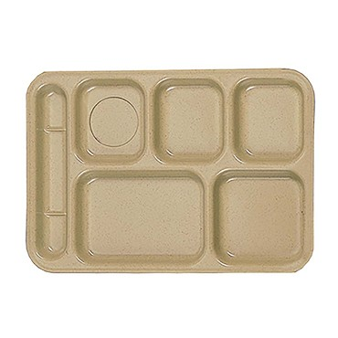 "Thunder ML801S - Six Compartment Tray, left-hand, 10"" x 14.5 inch, sand, (Case of 12)"