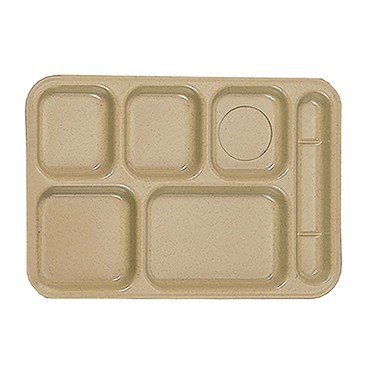 "Thunder ML802S - Six Compartment Tray, right-hand, 10"" x 14.5 inch, sand, (Case of 12)"