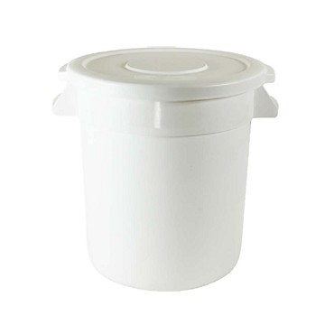 Thunder PLTC010W - Trash Can, 10 gallon, round, integrated handles, plastic, white