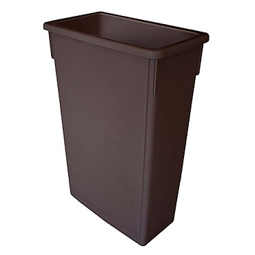 Thunder PLTC023B - Trash Can, 23 gallon, rectangular, flat bottom, durable, plastic, brown