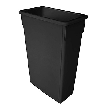 Thunder PLTC023K - Trash Can, 23 gallon, rectangular, flat bottom, durable, plastic, black