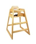Thunder WDTHHC018 - High Chair, safety straps, wood, natural finish, ships KD