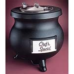 Tomlinson 1006846 - Soup Kettle, 8 quart, cast aluminum, transport collar, hinged lid, black