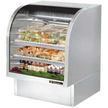 "True TCGG-36-S-LD - Curved Glass Deli Case, 36-1/4""W, (2) sliding glass rear doors, stainless steel exterior"