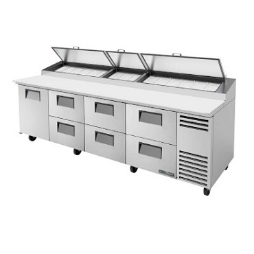 True TPP-119D-6 - Pizza Prep, 33-41°F pan rail, (1) door, (6) drawers, (15) 1/3 pans