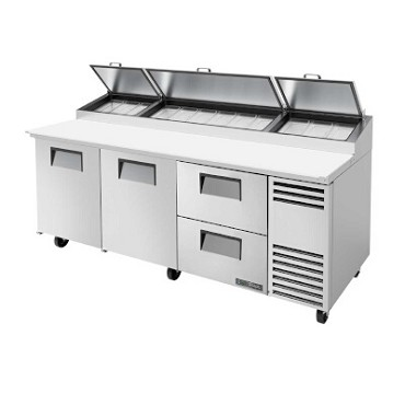 True TPP-93D-2 - Pizza Prep, 33-41°F pan rail, (2) full doors, (2) drawers, (12) 1/3 pans