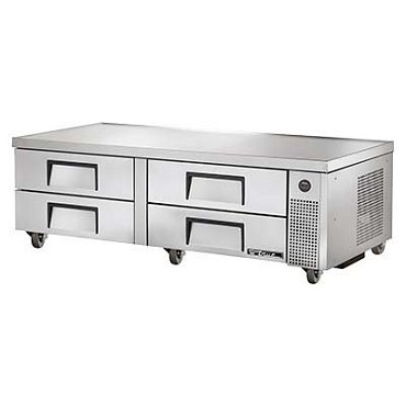 "True TRCB-72 - Refrigerated Chef Base, 72-3/8""L, 18 gauge stainless steel top, (4) drawers"