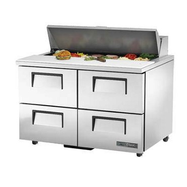 True TSSU-48-12D-4-HC - Sandwich/Salad Prep Table, (12) pans, (4) drawers, stainless steel front