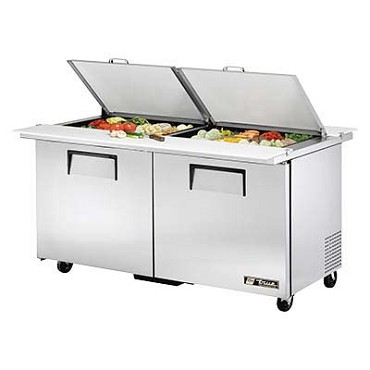 True TSSU-60-24M-B-DS-ST-HC - Dual Side Mega Top Prep Table, (24) 1/6 pans, (2) full doors