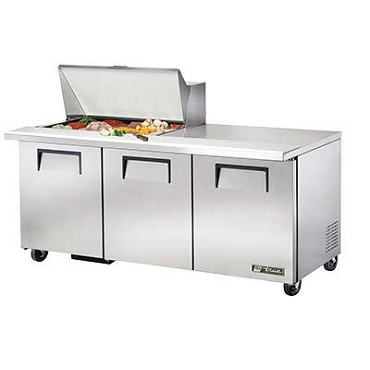 True TSSU-72-15M-B-HC - Mega Top Sandwich/Salad Prep Table, (15) 1/6 pans, (3) full doors
