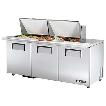 "True TSSU-72-24M-B-ST-ADA-HC - Mega Top Prep Table, 34"" height, (24) pans, (3) full doors"