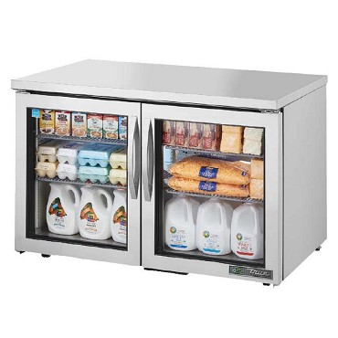 True TUC-48G-LP-HC~FGD01 - Low Profile Undercounter Refrigerator, (2) glass doors