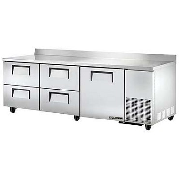 True TWT-93D-4-HC - Work Top Refrigerator, three-section, (1) solid door, (4) drawers