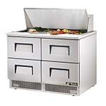True TFP-48-18M-D-4 - Sandwich/Salad Prep Table, two-section, (18) 1/6 pans, (4) drawers