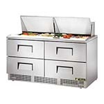 True TFP-64-24M-D-4 - Sandwich/Salad Prep Table, two-section, (24) 1/6 pans, (4) drawers