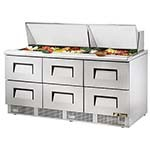 True TFP-72-30M-D-6 - Sandwich/Salad Prep Table, three-section, (30) 1/6 pans, (6) drawers