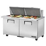 True TSSU-60-24M-B-ST-HC - Mega Top Prep Table, (24) 1/6 pans, (2) full doors