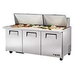 True TSSU-72-30M-B-ST-HC - Mega Top Prep Table, (30) 1/6 pans, (3) full doors