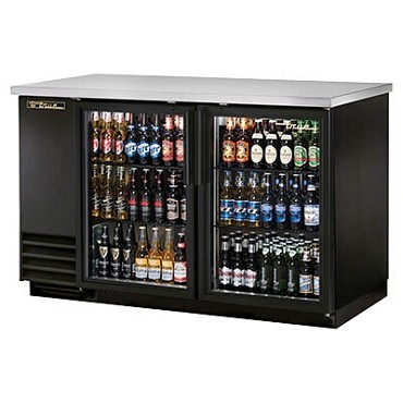 "True TBB-2G-HC-LD - Back Bar Cooler, two-section, 58-7/8""W, (2) glass doors, black exterior"