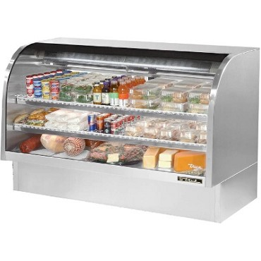 "True TCGG-72-S-LD - Curved Glass Deli Case, 72-1/4""W, (2) sliding glass rear doors, stainless steel exterior"