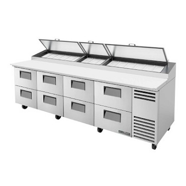 True TPP-AT-119D-8-HC - Pizza Prep Table, 33 - 41°F, (8) drawers, stainless steel front