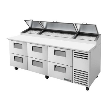 True TPP-AT-93D-6-HC - Pizza Prep Table, 33 - 41°F, (6) drawers, stainless steel front
