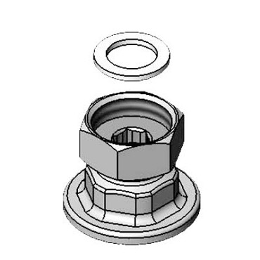 "T&S Brass 00AA - Union Coupling Inlets, female flanged 1/2"" IPS inlet, 1/8"" eccen"
