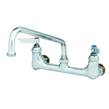 "T&S Brass B-0232-CC - Sink Mixing Faucet, with 6"" swing nozzle, wall mounted, 8"" cente"