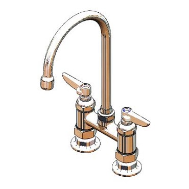 "T&S Brass B-0325-A22 - Pantry Faucet, double, deck mount, 4"" centers, 6"" swivel"