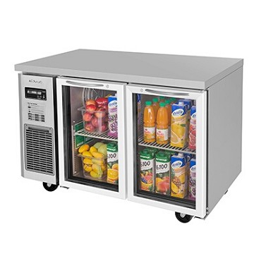 Turbo Air JUR-48-G-N - Glass Door Undercounter Side Mount Refrigerator, two section, 11 cu.ft.