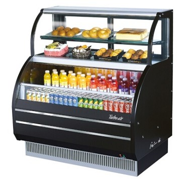 Turbo Air TOM-W-40SB - Open Display Merchandiser with Refrigerated Top Shelf Combination Case, 4.2 top/6.4 bottom cu. ft.