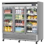 Turbo Air TSR-72GSD-N - Maximum Glass Door Refrigerator, 3-section
